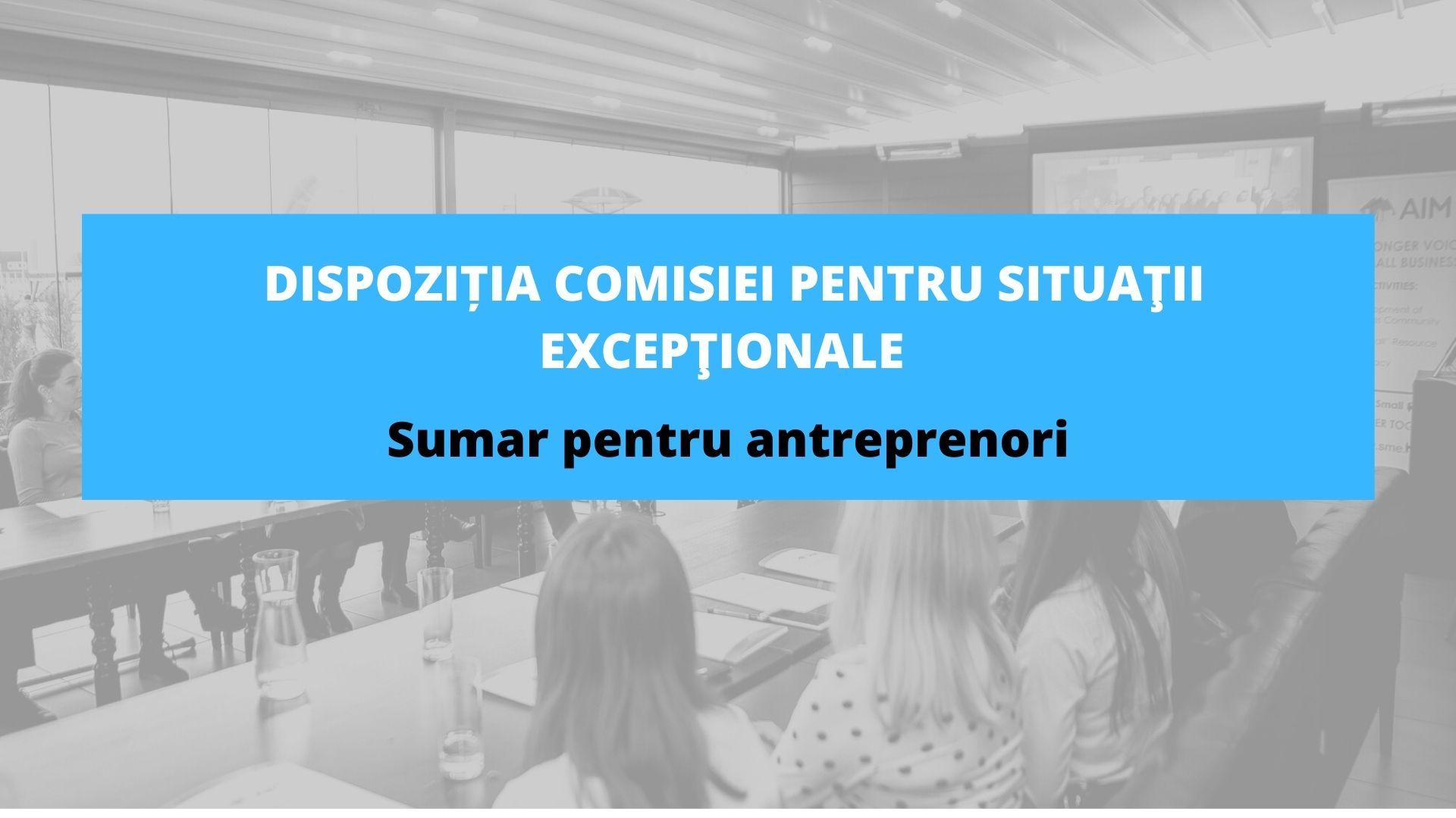 Sumar pentru antreprenori – Dispoziția Comisiei pentru Situaţii Excepţionale a Republicii Moldova nr. 1 din 01.04.2021